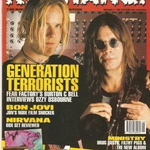 Обложка журнала Kerrang с Fear Factory за 1996 год